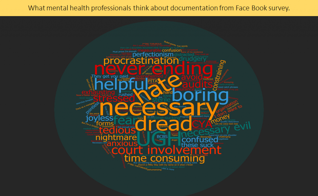 writing psychotherapy notes and what mental health prfessionals think about documentation